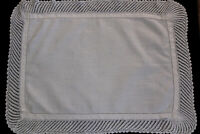 Vintage white linen tray cloth with crochet edges.