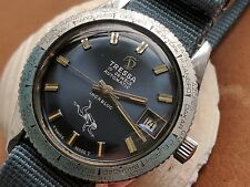 Vintage Tressa World Time Divers Watch w/Pristine Blue Dial,Patina FOR REPAIR