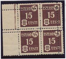 Estonia. WWII. 1941. German occupation. 15 K - MNH block of 4 - MISPERFORATED