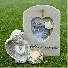 Engel mit Fotorahmen Grabdeko Grabschmuck *Du lebst in unserem Herzen* 20 cm