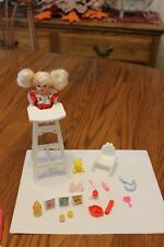 Barbie Eating Fun Kelly Doll High Chair red Sippy Cup teddy Bear Food juice lot