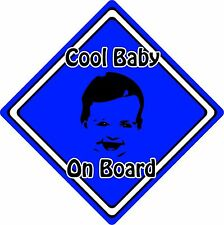 Cool Baby/Child On Board Car Sign ~ Baby Face Silhouette ~ Neon Dark Blue