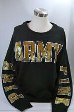 New in bag Victorias Secret PINK Sequin ARMY Black Sweatshirt Medium-Sold Out!