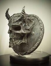 Satan Skull Iron Skeleton Sculpture Wall Art Plaque Decor Ornament Statue Gotic