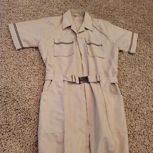 NOS VINTAGE Bill Parry Mens Short Sleeve Coveralls Tan Size M Vintage Belted
