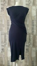 French Connection Navy Blue Drape Front Fitted Dress Size 10