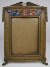 Antique Eagle American Flag Decorative Art Frame Cast Iron Multi Color Old Paint