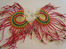 Ohrring pink Traumfänger aus Stoff mit bunten Perlen Kunststoff Schnecke 4294
