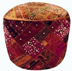 Ottoman Pouf Cover Handmade Patchwork Vintage Pouffe Stool Decor Cover Indian