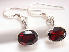 Very Small Faceted Red Garnet Earrings 925 Sterling Silver Corona Sun Jewelry