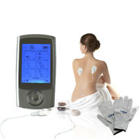 16 modes Electrode Pulse Therapy Massager TENS EMS Machine + Massage Glove