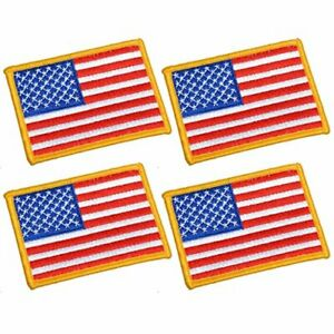 UNIS 4 Pack, 3.5 X 2.5. Inch American US Flag Embroidered Cloth Sew on 4 Pieces
