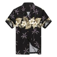 Made in Hawaii Men Hawaiian Aloha Shirt Luau Cross Hibiscus in Black