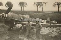 WW2 Picture Photo German Airplane fighter Ganacker Captured w soldiers 2099