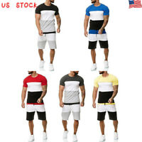 Summer Men Summer TrackSuit T Shirt Sport Suit Sets Tops+Pants Set Tennis Wear