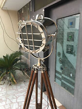 Retro-Electric-Polished-S earchlight-With-Tripod-Sta nd-Floor-Lamp-Nautical-Tri pod