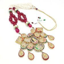 Indian Ethnic Kundan Gold Plated Wedding Bib Necklace Fashion Party Jewelry Set