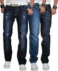 Rock Creek Herren Designer Denim Jeans Hose Used Look dicke Naht Multi 3 NEU