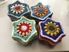 50 HAND CROCHETED PUFF FLOWER GRANNY SQUARES HEXAGONS