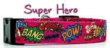 "Super Hero pink dog collar handmade adjustable buckle 1""or 5/8"" wide or leash"