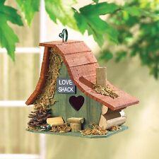 "Birdville Wooden Cottage Birdhouse with Heart Shaped Door ""Love Shack"" 8"" tall"