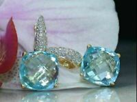 5Ct Cushion Cut Aquamarine Diamond Drop & Dangle Earrings 14K Yellow Gold Finish