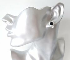 Sparkly silver tone & jet black diamante round shape CLIP ON stud earrings