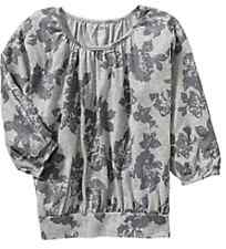 NWT Old Navy Girls 3/4 Sleeve Jersey Top XS (5) Gray Floral 100% Cotton