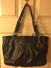 Coach Black Pleated Leather  East West Gallery Handbag Tote Purse F13759