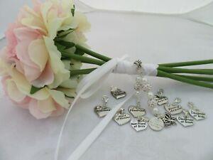 PERSONALISED BRIDAL BRIDESMAID FLOWER GIRL MAID of HONOUR WEDDING BOUQUET CHARM