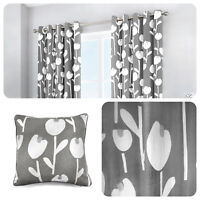 Fusion ALABAR Grey 100% Cotton Ready Made Eyelet Curtains & Cushions
