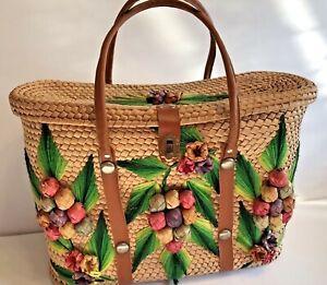 VTG Florida Basket Weave Wicker Rattan Woven Tote Handbag Purse Bag Flowers FUN!