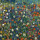 POPPY BLUEBELL DAISY HAREBELL FLOWERS  by Gustav Klimt Giclee Canvas Print