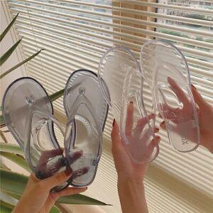 Women's Transparent Flip-flops Shoes Simple Slippers Beach Shoe PVC Size 8 / 39