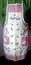 French APRON with White Ducks/Red Check Design Cotton Adult Size