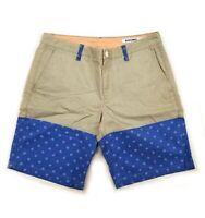 New Mens Bonobos shorts size 32 gray blue color block salmon inside