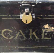 Large Antique Cake Tin Black Metal Shabby Orig Brass Padlock Rare