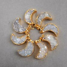 Wholesale 5Pcs Gold Plated Moon Natural Agate Titanium AB Druzy Pendant TG0388