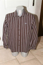 pretty shirt brown striped FRED PERRY size L MINT