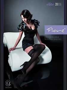 FIORE JACQUELINE 3D HOLD UP THIGH HIGH STOCKINGS 3 SIZES CAPPUCCINO