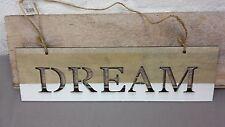 Schild, Holz, zum Hängen, DREAM, Deko, Landhaus, weiß, beige