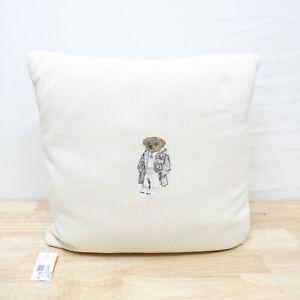 "Ralph Lauren 18"" x 18"" Square Decorative Pillow Flannel Bear Cream 101"