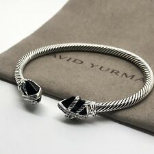 David Yurman Sterling Silver Black Onyx & Diamond Cable Wrap Bracelet 4mm