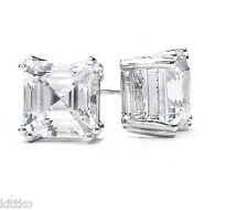 0.71/E CTW STERLING SILVER STEP CUT EMERALD ASSCHER CZ STUD EARRINGS ~5MM~KIT-M