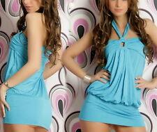Sexy Miss Ladies Long Top Girly Mini Dress Halter Dress 34/36/38 New Blue