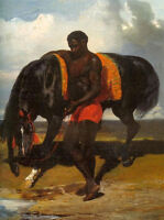 Nice oil painting Alfred Dedreux - African holding a horse at the edge of a sea