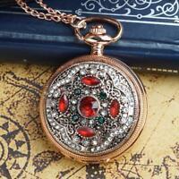 Vintage Rose Gold Kristall Retro Taschenuhr Quarz Halskette Antik-Anhänger-Rot
