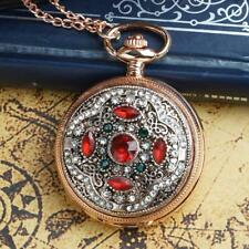 Vintage Rose Gold Crystal Retro Pocket Watch Necklace Antique Pendant Red UK