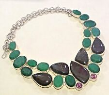 "925 Sterling Silver Overlay Emerald, Jasper & Zircon Necklace Jewelry 18 "" Inch"
