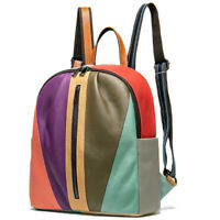 Genuine Leather Women's Colorful Blocks Patchwork Backpack Travel Bag Rucksack